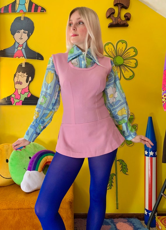 1970s lilac skirted bodysuit S-M // mod 60s 70s s… - image 5