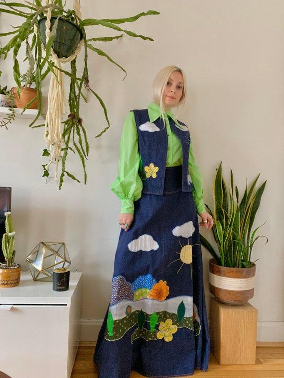 ICONIC 1970s denim + patchwork hippie skirt vest s