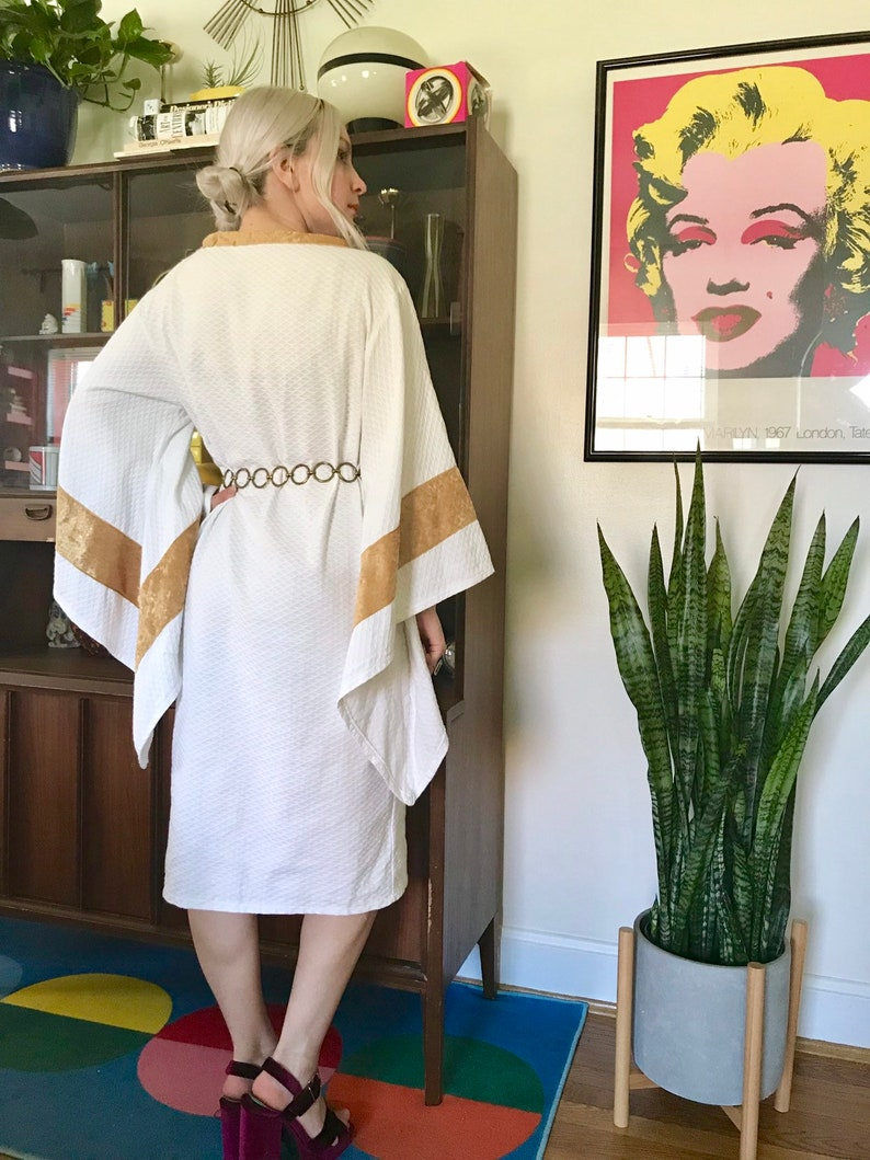 Homemade angel sleeve white dress with gold trim ML retro 70s style mini dress with massive exaggerated sleeves costume prop dress