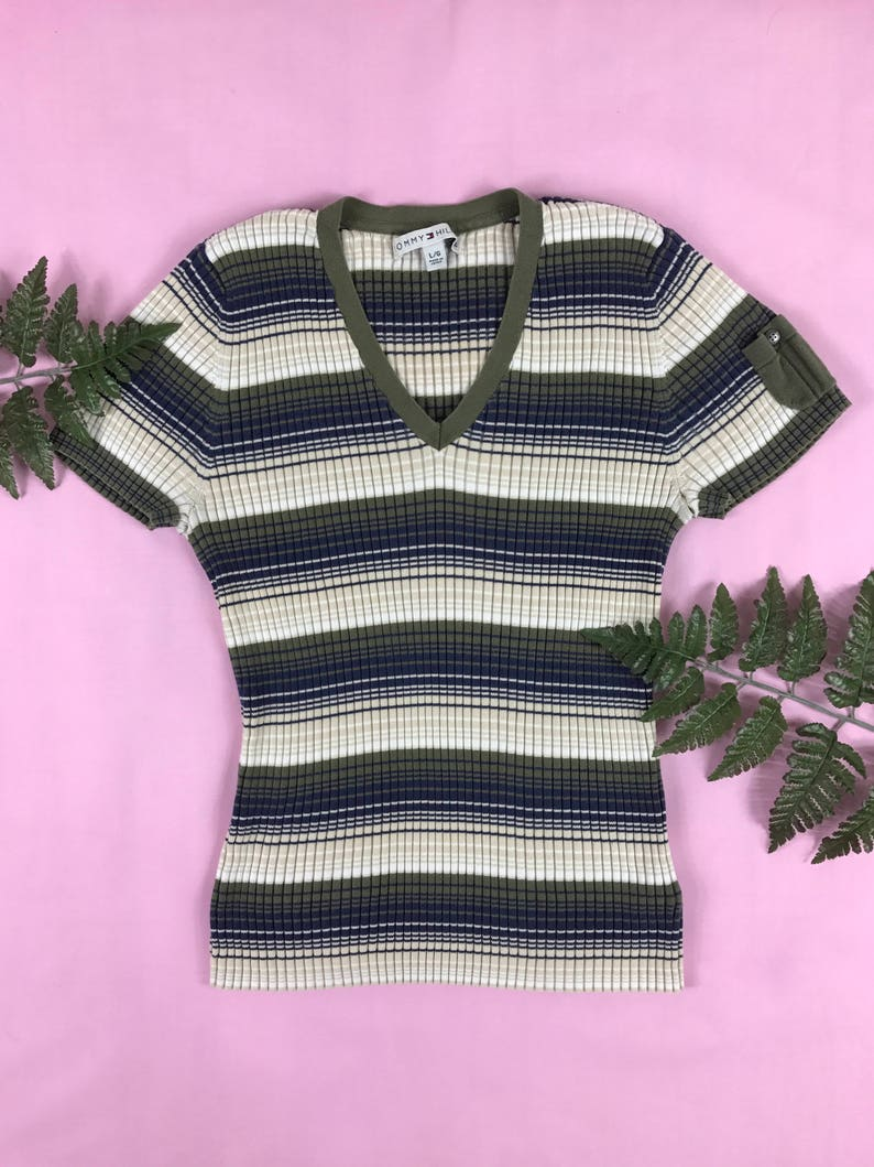 b6070f11a97b Vintage 1990s Tommy Hilfiger striped v neck t-shirt retro striped shirt 90s  Tommy striped ribbed short sleeve top ...