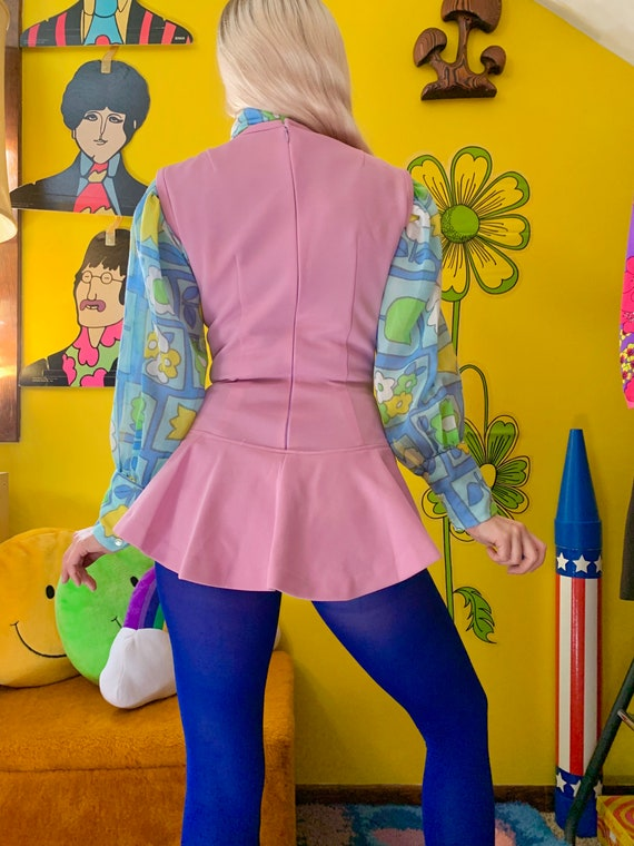 1970s lilac skirted bodysuit S-M // mod 60s 70s s… - image 4