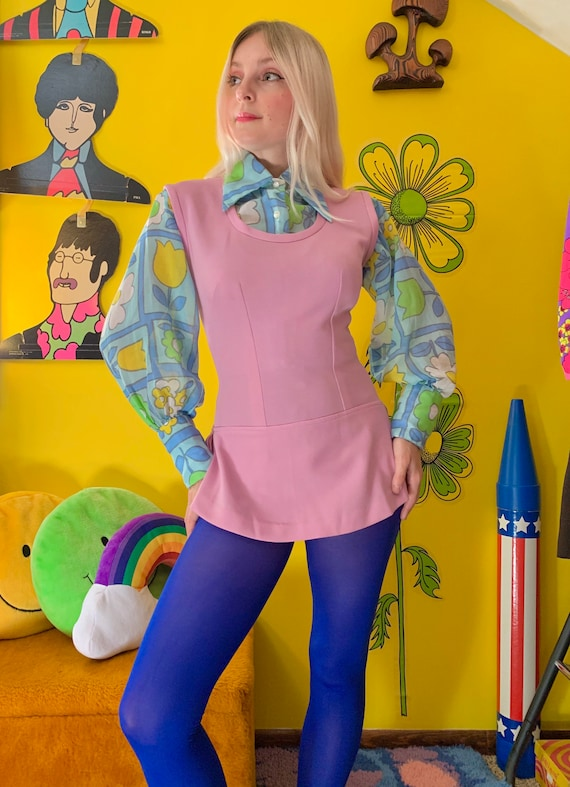 1970s lilac skirted bodysuit S-M // mod 60s 70s s… - image 1