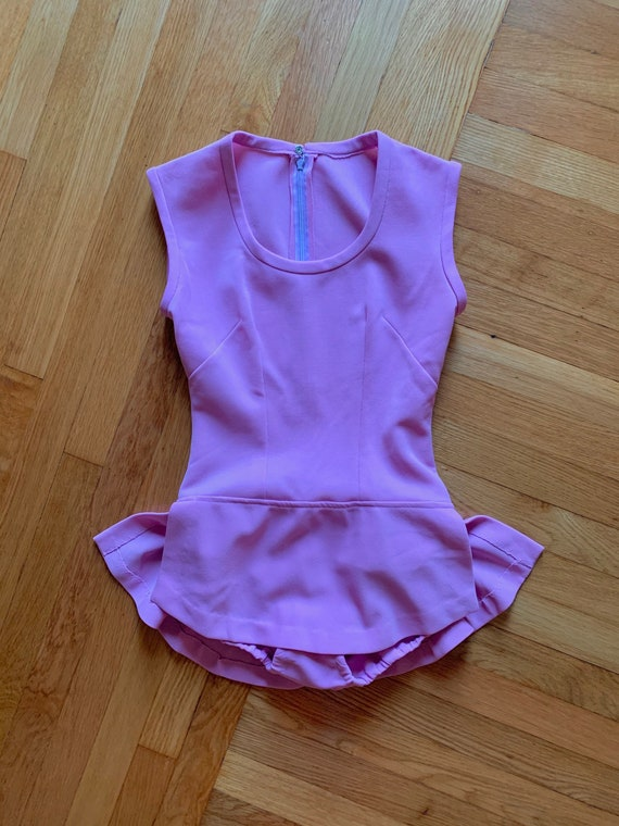 1970s lilac skirted bodysuit S-M // mod 60s 70s s… - image 6