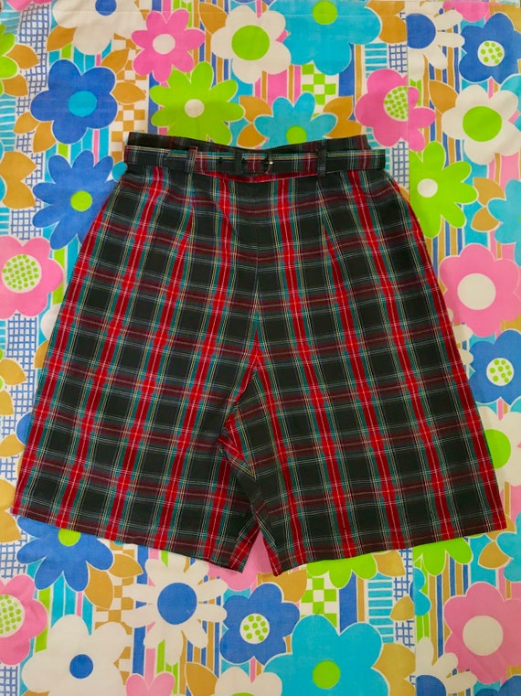"Vintage 1950s Green Red Tartan Bermuda Shorts 22/23"" Waist W/ Belt Retro 50s Plaid Pin Up Long Shorts Xxs Pedal Pushers Junior Size by Etsy"