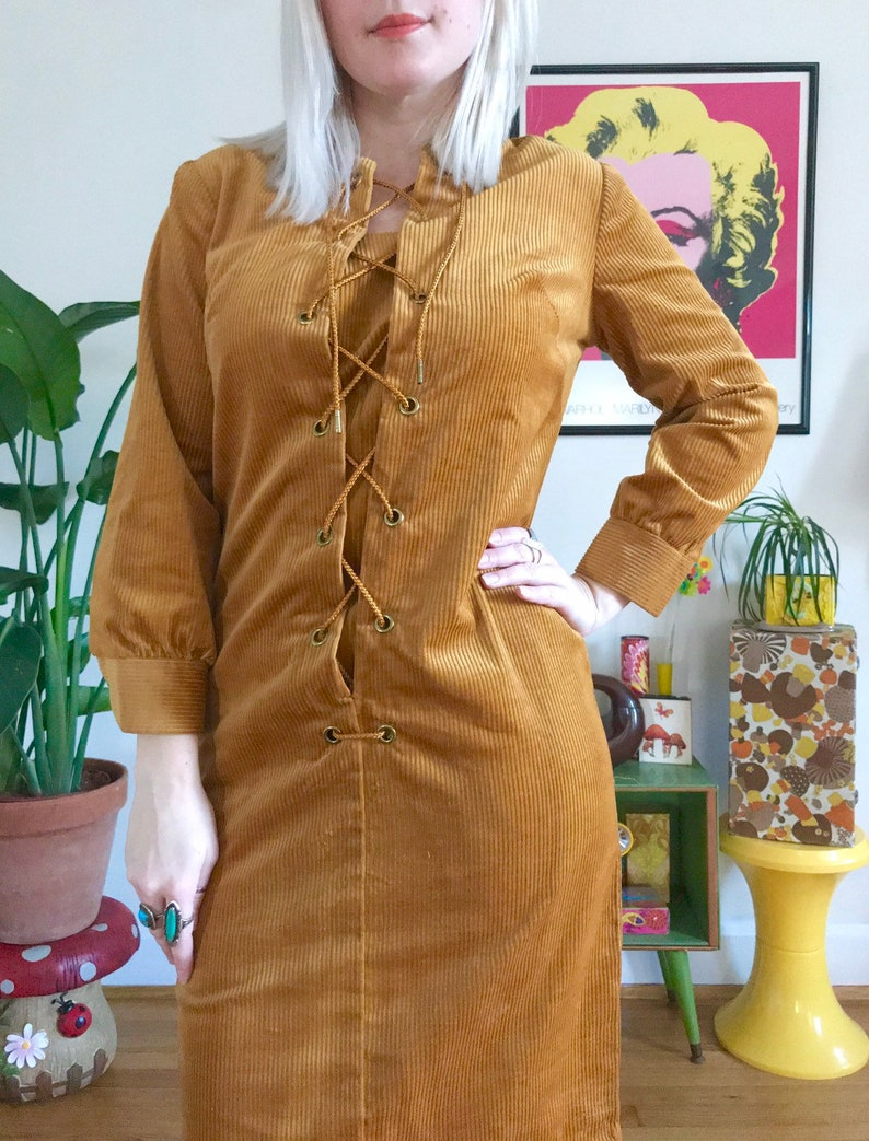 92047f5cc0 Vintage 1970s mustard yellow corduroy lace up dress mod 60s