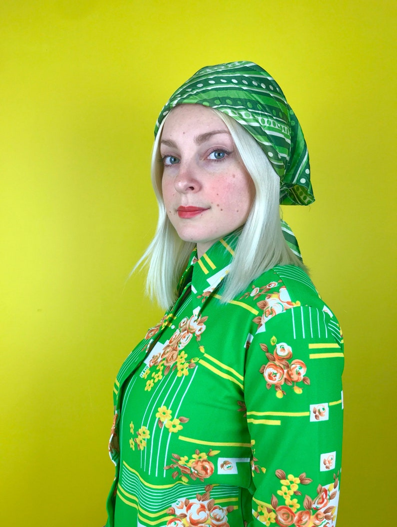 2ef4aacee2c30 Vintage 1960s psychedelic green white head scarf retro 60s 70s op art  circle polka dot print festival head wrap hippie turban that 70s show