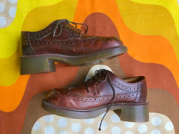 up shoes Dr in oxfords Doc AirWair Made 1980s chunky Martens lace 7UK Marten platform Vintage Doc Martens shoes mens retro England brown 80s nq07wCXtx6