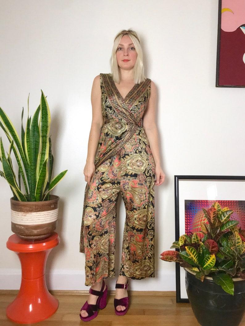 4d383f62cb Vintage 1960s psychedelic wide leg jumpsuit XS S mod 60s 70s