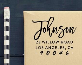 Brush Script Return Address Stamp - Custom Address Stamp - Self Inking