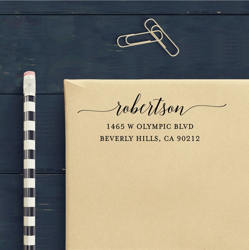 Custom Address Stamp Calligraphy Waves Self Inking Return Address Stamp