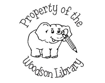 Library Stamp Adorable Elephant Self Inking Ex Libris Bookplate