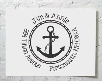 Anchor Custom Return Address Stamp - Self Inking Personalized Stamp