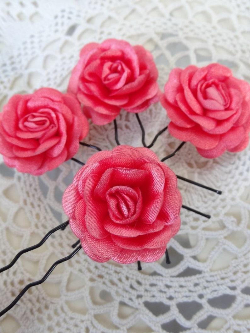 Hair Accessories Coral Bridal Hair Pins Woodland Set of 4 Bridesmaid Hair Satin Hair Pins Coral Satin Rose Wedding Hair Pins