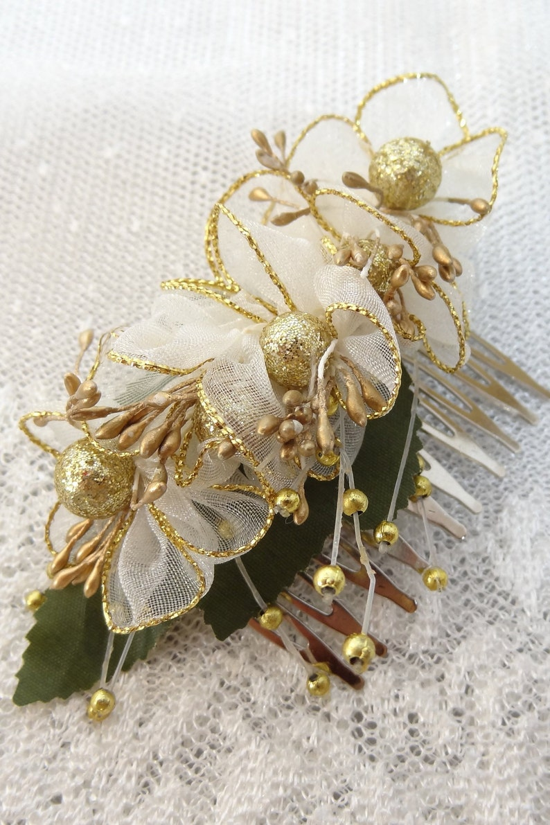 Boutonniere and Hair Comb Sets Beach Weddings Ivory Gold Flower Accessories Boho Rustic Hair Comb Rustic Boutonniere Rustic Wedding