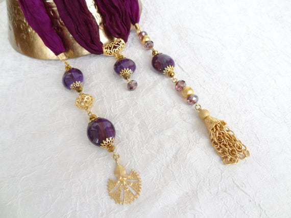 Turkish Silk Necklace, Purple Scarf Necklace, Jewelry Scarf, Scarf  Necklace, Gold Necklace, Turkish Jewelry, Elegance, Mother's Day Gifts