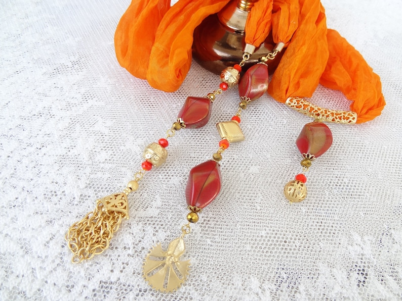 Women/'s Scarf Pendant Necklace Stone Necklace Scarf Jewelry W//beads Jewelry Gift