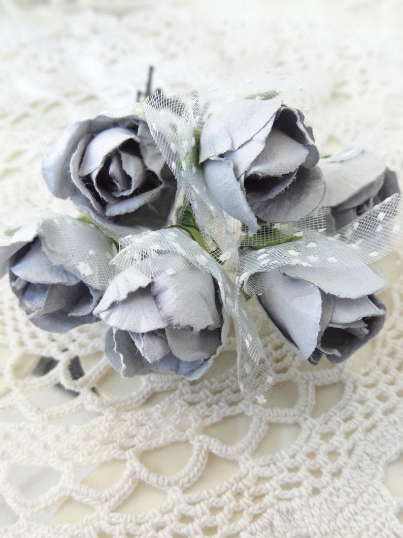 Set of 6 Fabric Hair Pins Bridesmaid Hair Grey Flower Wedding Hair Pins Bridal Hair Pins Woodland Hair Accessories