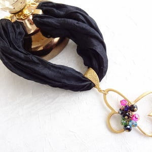 Gold Butterfly Pendant Crystal Necklace Mother/'s Day Gifts Butterfly Gold Necklace Black Turkish Silk Necklace Turkish Jewelry