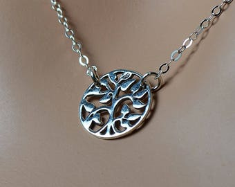 Sterling Silver Tree Of Life  Necklace, Coin Necklace, Tree of Life Necklace,  Minimalist Necklace