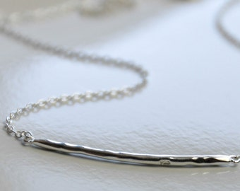 """All Sterling Hammered Bar Necklace, Textured Fine Silver and Sterling Jewelry 17"""""""