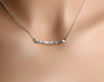 All Sterling Silver Hammered Bar Necklace, Textured Fine Silver and Sterling Jewelry