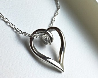 All Sterling Silver Floating Heart Necklace, Love Heart Sterling Jewelry, Mother's necklace, Wife's Necklace