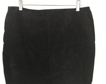 Black Suede Pencil Skirt / Size 12