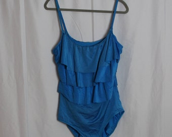 Plus Size Blue Tiered One-piece Bathing Suit // Size: 18
