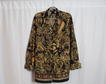 Plus Size Black and Beige Floral Print Blouse // Size: 24w