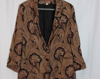 Plus Size Gold and Black Paisley Jacket // Size: 24w