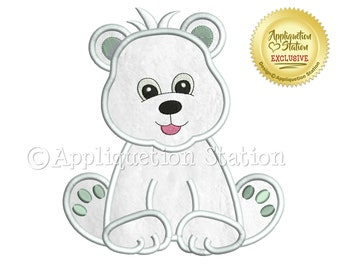 a43ceaf4fec4b Zoo Baby Polar Bear Cub Applique Machine Embroidery Design Boy Artic Cute  animal INSTANT DOWNLOAD