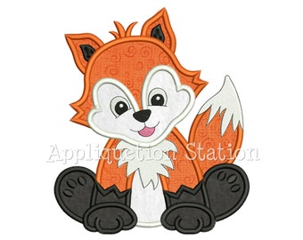 Zoo Baby Fox Applique Machine Embroidery Design Woodland Boy Girl Cute Animal INSTANT DOWNLOAD