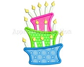 Birthday Cake Topsy Turvy with Candles Applique Machine Embroidery Design Birthday Tilted Slanted Wobbly INSTANT DOWNLOAD