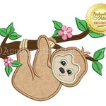 Zoo Baby Sloth Girl Applique Machine Embroidery Design  Hanging Branch Jungle Safari Cute animal INSTANT DOWNLOAD