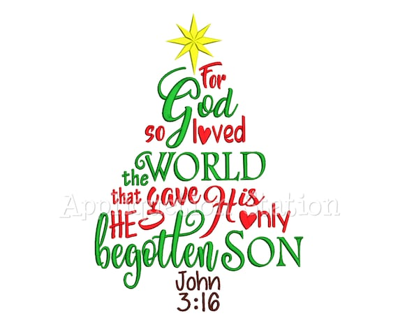 John 316 Word Art Christmas Tree Machine Embroidery Designs