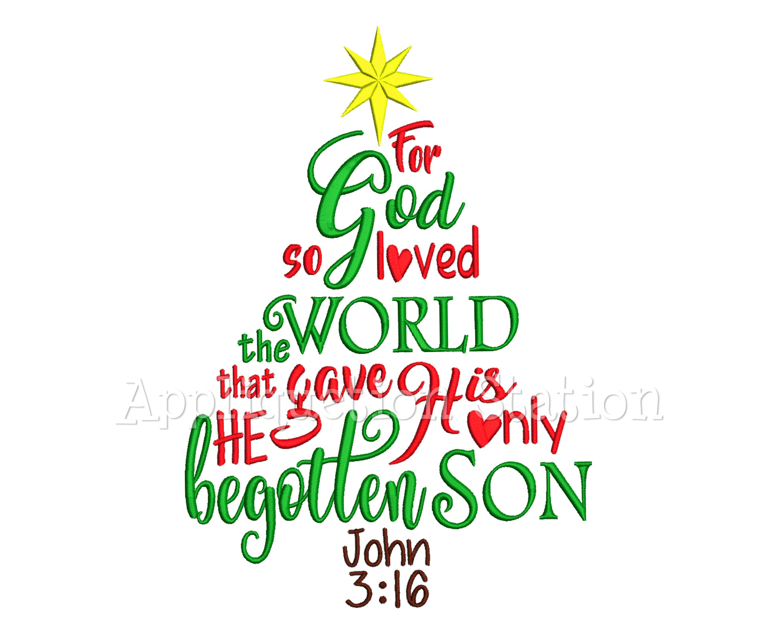John 3:16 Word Art Christmas Tree Machine Embroidery Designs   Etsy