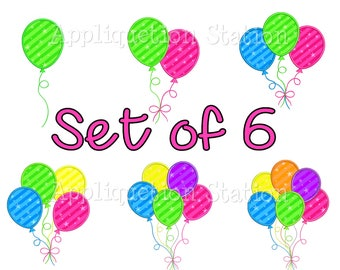 Balloon Set Happy Birthday Party Celebrate Applique Machine Embroidery Design 1, 2, 3, 4, 5, 6 INSTANT DOWNLOAD