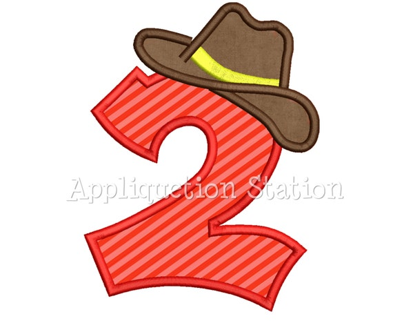 dabfdb91f89 Number Two Cowboy Hat 2nd Birthday Applique Machine Embroidery
