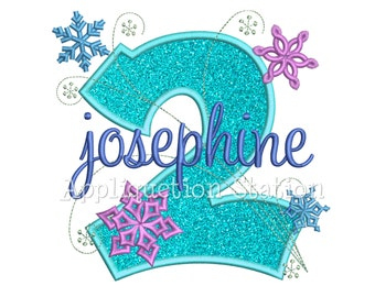 Snowflakes Number Two 2nd Birthday Applique Machine Embroidery Design second winter frozen INSTANT DOWNLOAD