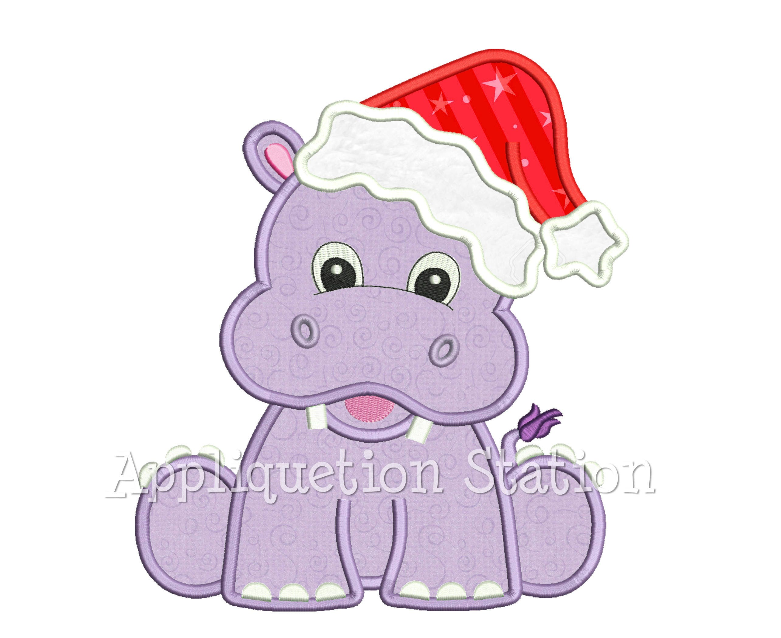 Christmas Hippo with Santa Hat Applique Machine Embroidery | Etsy