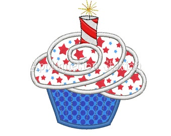 4th of July Cupcake Sparkler Candle Applique Machine Embroidery Design Patriotic Birthday INSTANT DOWNLOAD