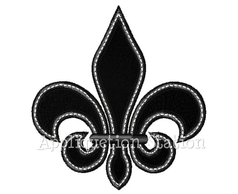 Fleur De Lis Applique Machine Embroidery Design Black White Etsy