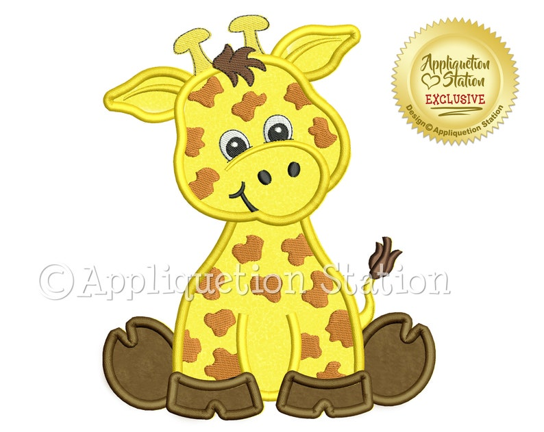 Zoo Baby Giraffe Applique Machine Embroidery Design Cute image 0