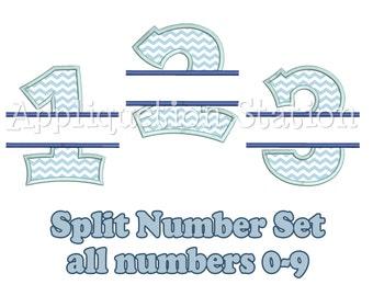 Split Design Birthday Number Set Applique Machine Embroidery Design 1st first boy girl 0,1,2,3,4,5,6,7,8, AND 9 blue  INSTANT DOWNLOAD