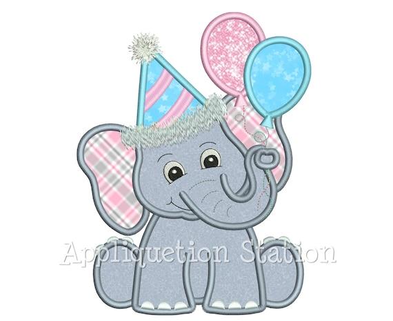 Verjaardag Olifant Met Partij Hoed En Ballonnen Applique Etsy