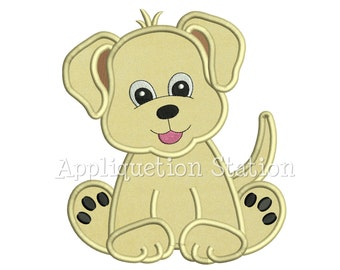 Cute Baby Labrador Puppy Applique Machine Embroidery Design Pattern Boy Girl Yellow Black Lab Dog animal INSTANT DOWNLOAD