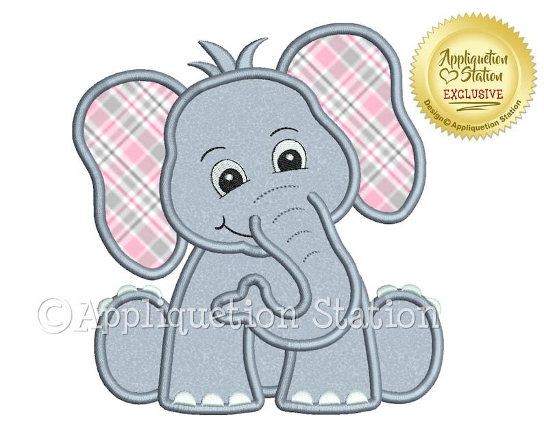Zoo Baby Elephant Applique Machine Embroidery Design Jungle image 0