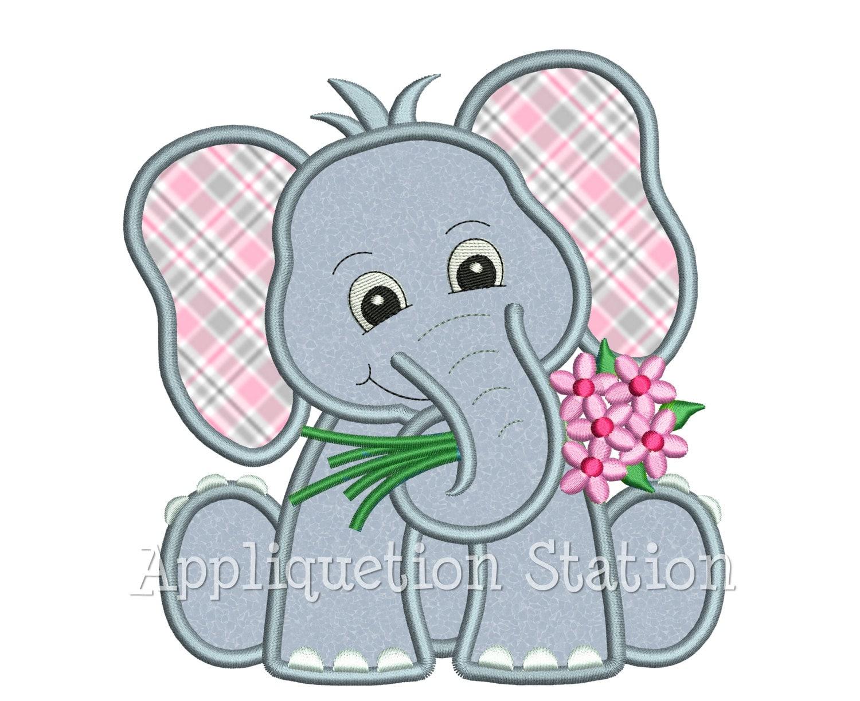 Zoo-Baby-Elefant hält Blumen Applikation Maschinenstickerei   Etsy