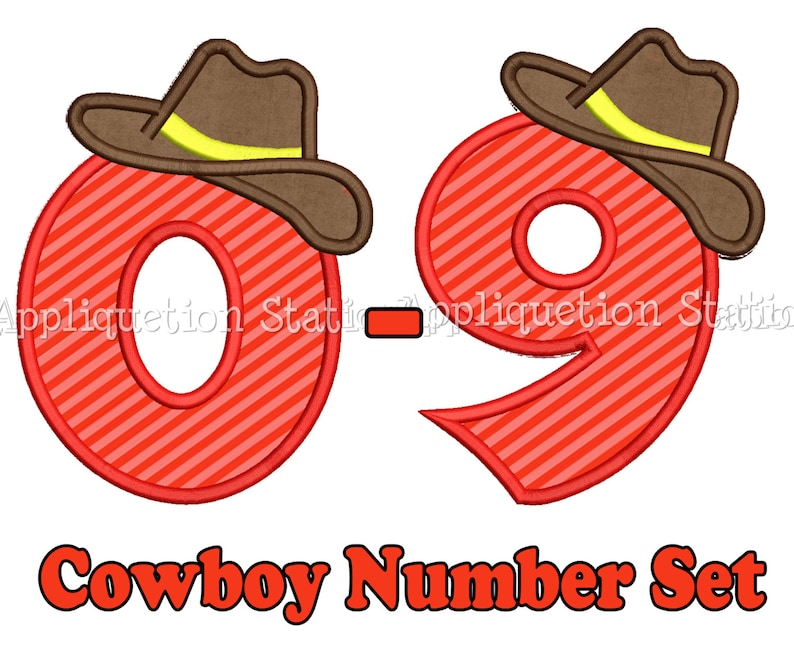 6fb1cc89f64a2 Cowboy Birthday Number Set Applique Machine Embroidery Design