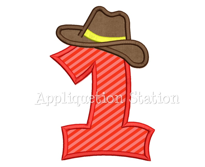817f344abf026 Number One Cowboy Hat 1st Birthday Applique Machine Embroidery